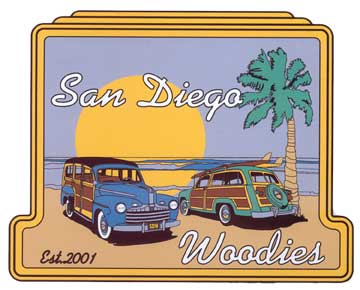 San Diego Woodies Logo with two woodies parked at the beach with surf break in background